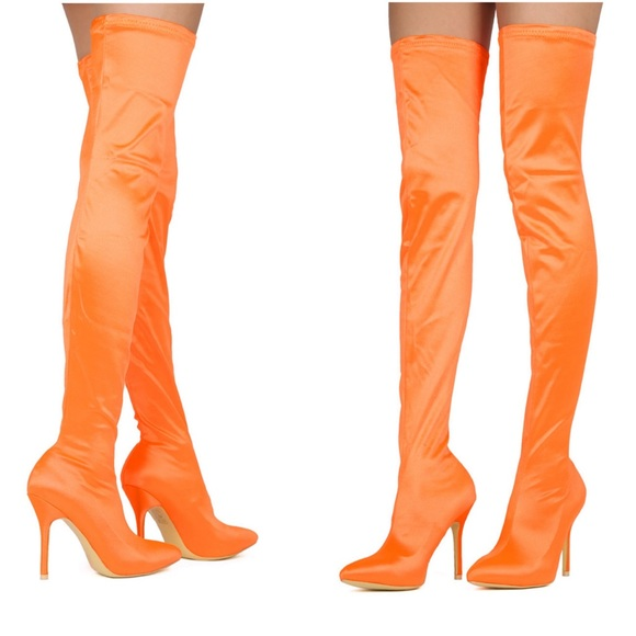 in stock select for newest big discount sale Orange satin over the knee boot